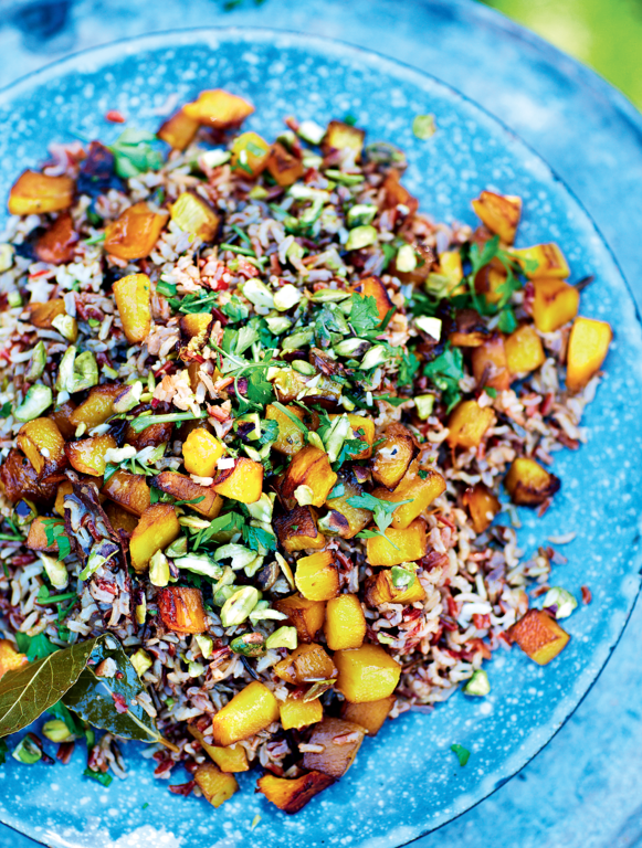 Wild, Red and Brown Rice Salad with Roasted Pumpkin
