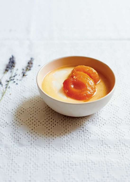 Vanilla Bean Yoghurt Panna Cotta with Poached Lavender Apricots