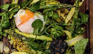 Char-Grilled Lettuce Salad (with Asparagus and Black Pudding)