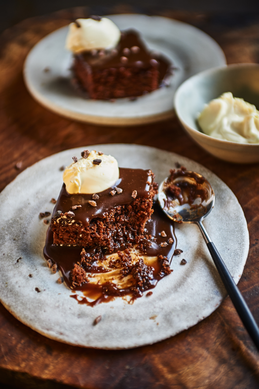 Brownie Pudding with sea-salted caramel, tea, and figs