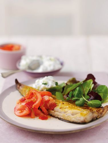 Goan spiced mackerel with tomato & chilli sambal & raita