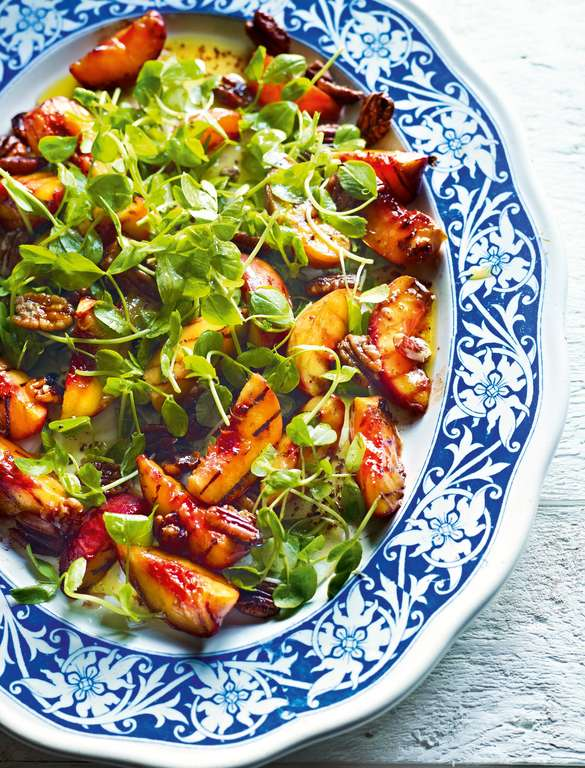 Salad of Chilli and Honey Peaches, Leaves and Pecans