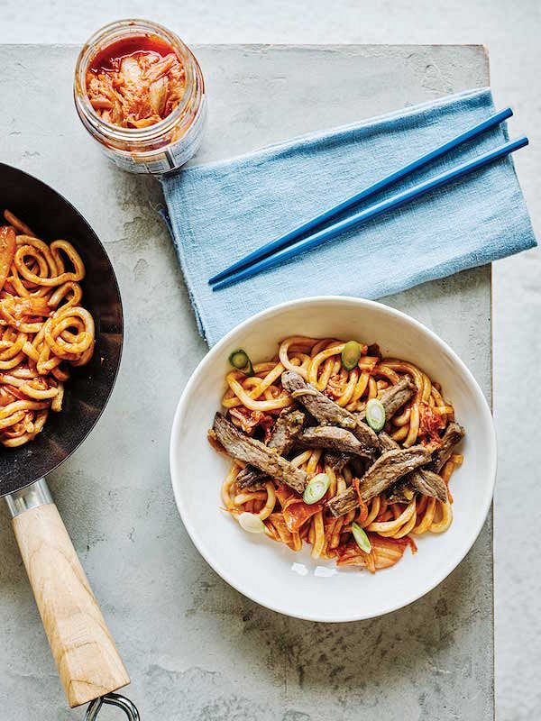 Marinated Beef with Kimchi Udon Noodles from The Noodle Cookbook
