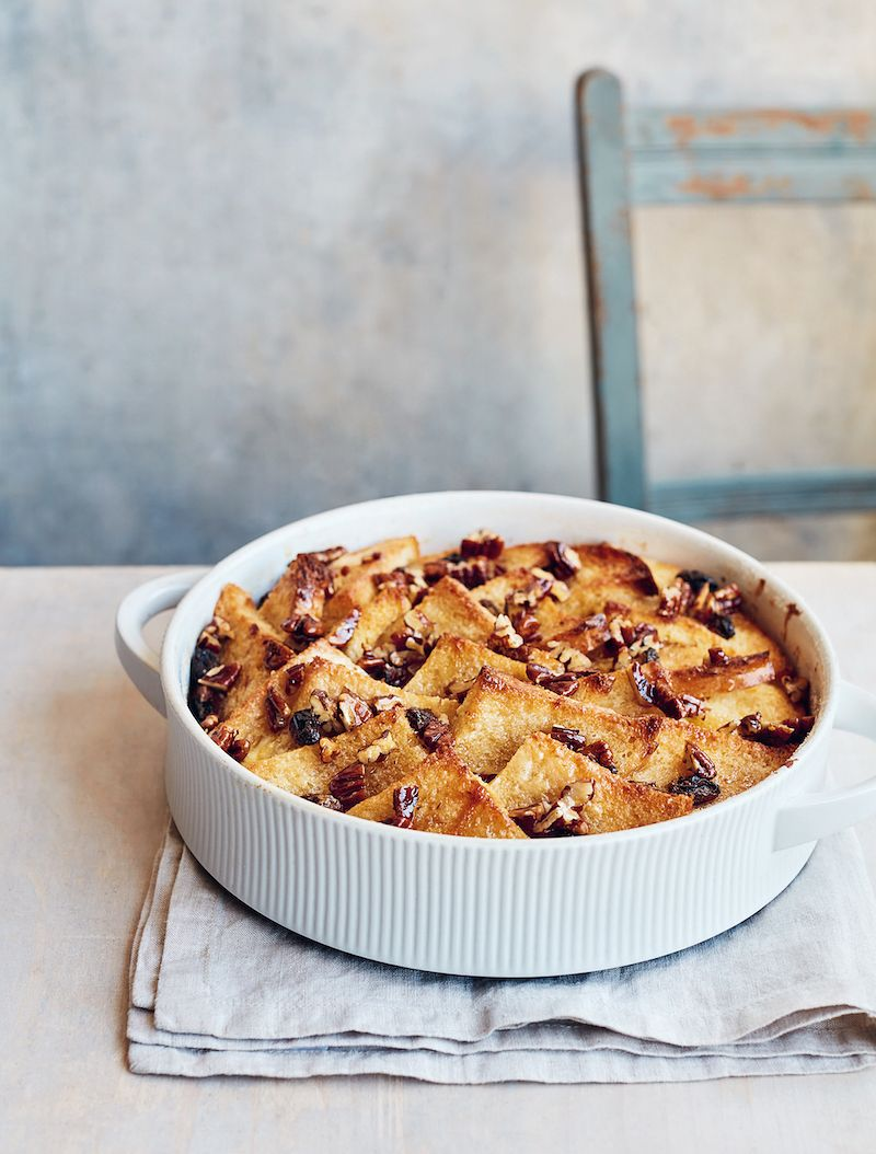 mary berry simple comforts bread and butter pudding pecan topping