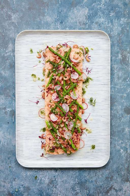 Poached Side of Salmon with Asparagus and Brown Shrimps