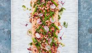 Mary Berry's Poached Side of Salmon with Asparagus and Brown Shrimps