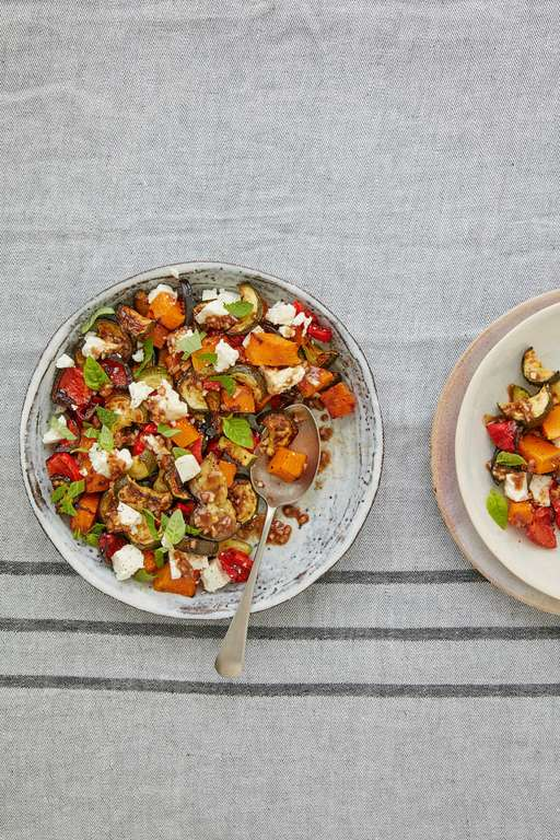 Roasted Vegetables with Feta and Herbs