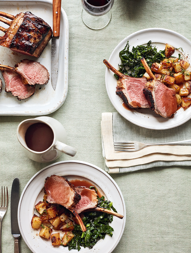 mary berry simple comforts roast rack of lamb with minted garlic potatoes