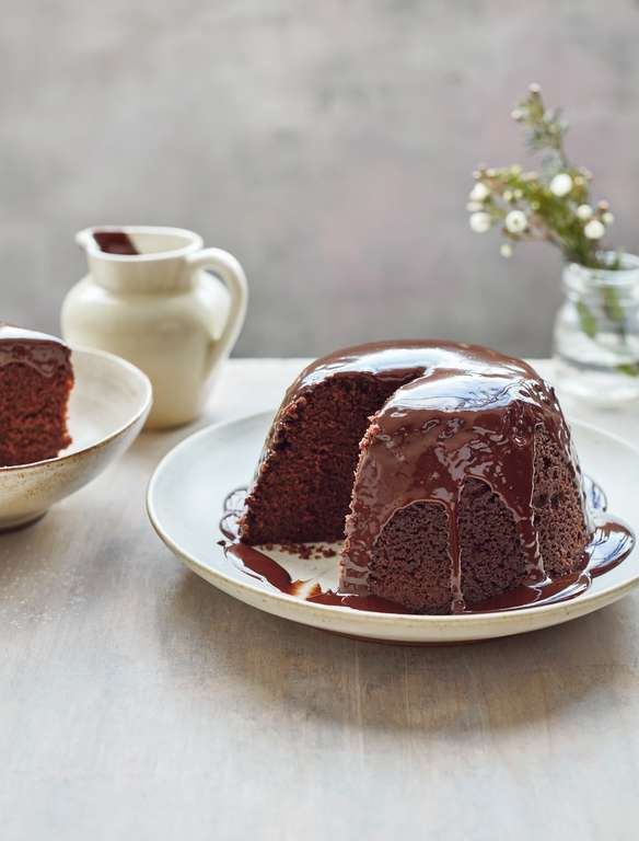 Mary Berry's Chocolate Steamed Pudding with Chocolate Sauce