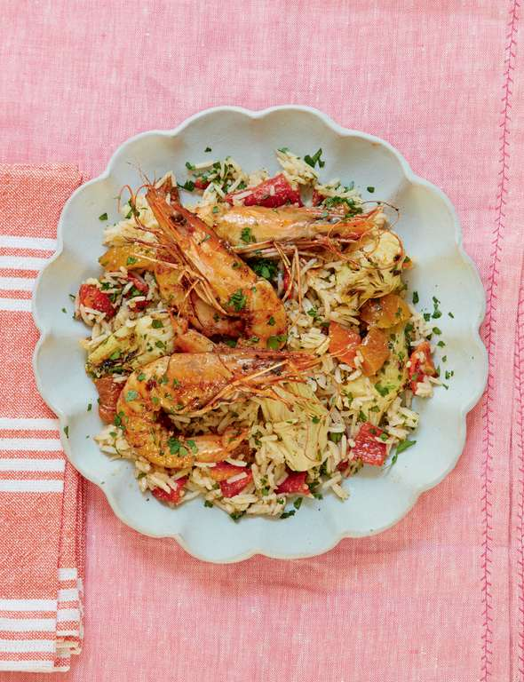 Mary Berry's Marinated Harissa Prawns with Spiced Rice