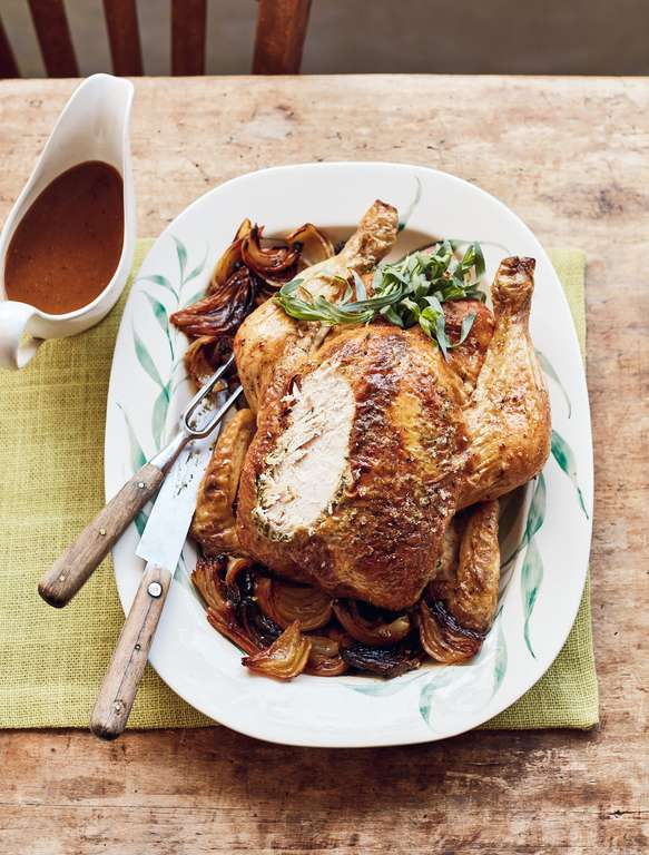 Mary Berry's Roast Chicken with Tarragon Butter & Melting Onions