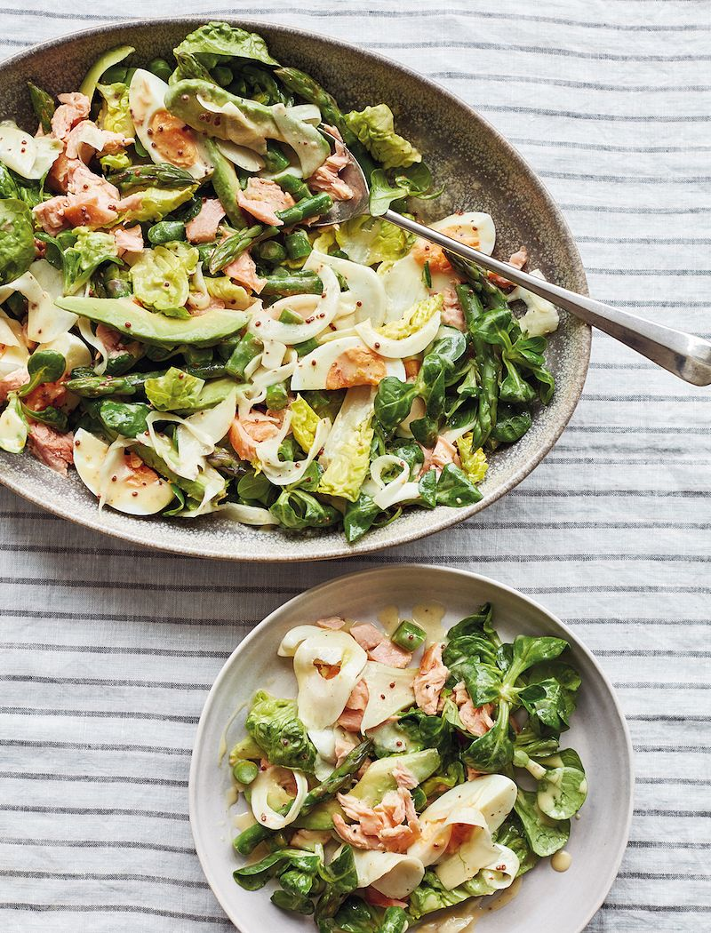 best mary berry salmon recipes simple comforts Hot Smoked Salmon & Asparagus Salad
