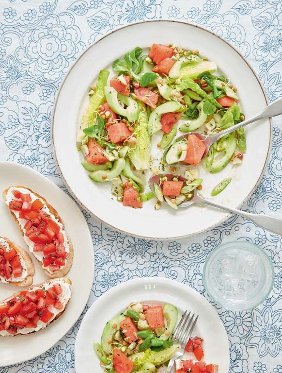 Mary Berry's Fennel and Watermelon Salad with Goat's Cheese Bruschetta