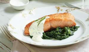 Salmon Fillets on a Bed of Spinach with Tarragon Sauce
