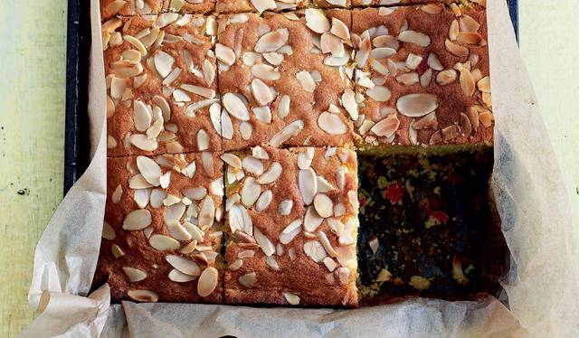 Cherry and almond traybake the happy foodie cherry and almond traybake fandeluxe Gallery