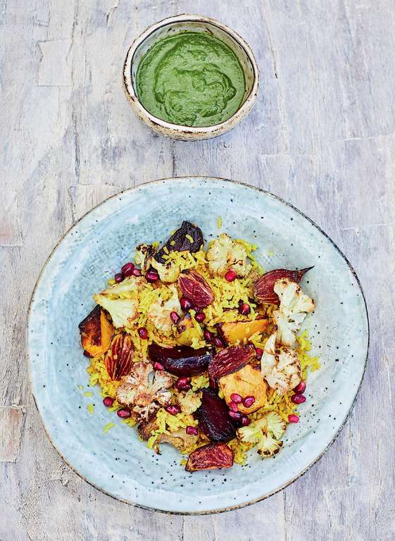 Meera Sodha's Winter Pilau with Beetroot, Cauliflower and Coriander Chutney