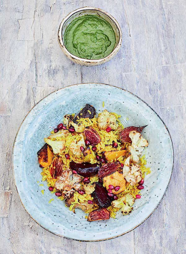 Inspiring vegan Christmas recipe ideas winter pilau with beetroot and cauliflower meera sodha east