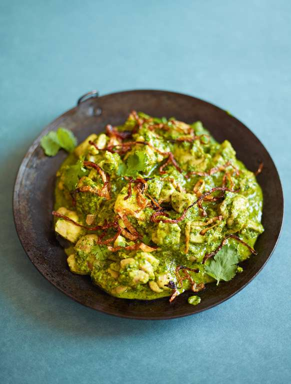 Coriander Chutney Chicken (Lilli Chatni Anna Murghi Kari)