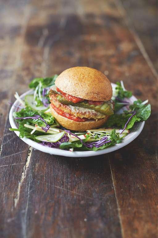 Mega Veggie Burgers Garden Salad and Basil Dressing