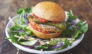 Mega Veggie Burgers Garden Salad and Basil Dressing Jamie Oliver