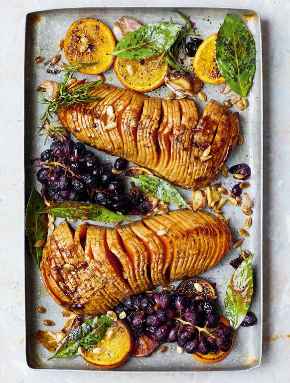 Melissa Hemsley's Hasselback Squash with Roasted Grapes and a Sprout and Blue Cheese Slaw