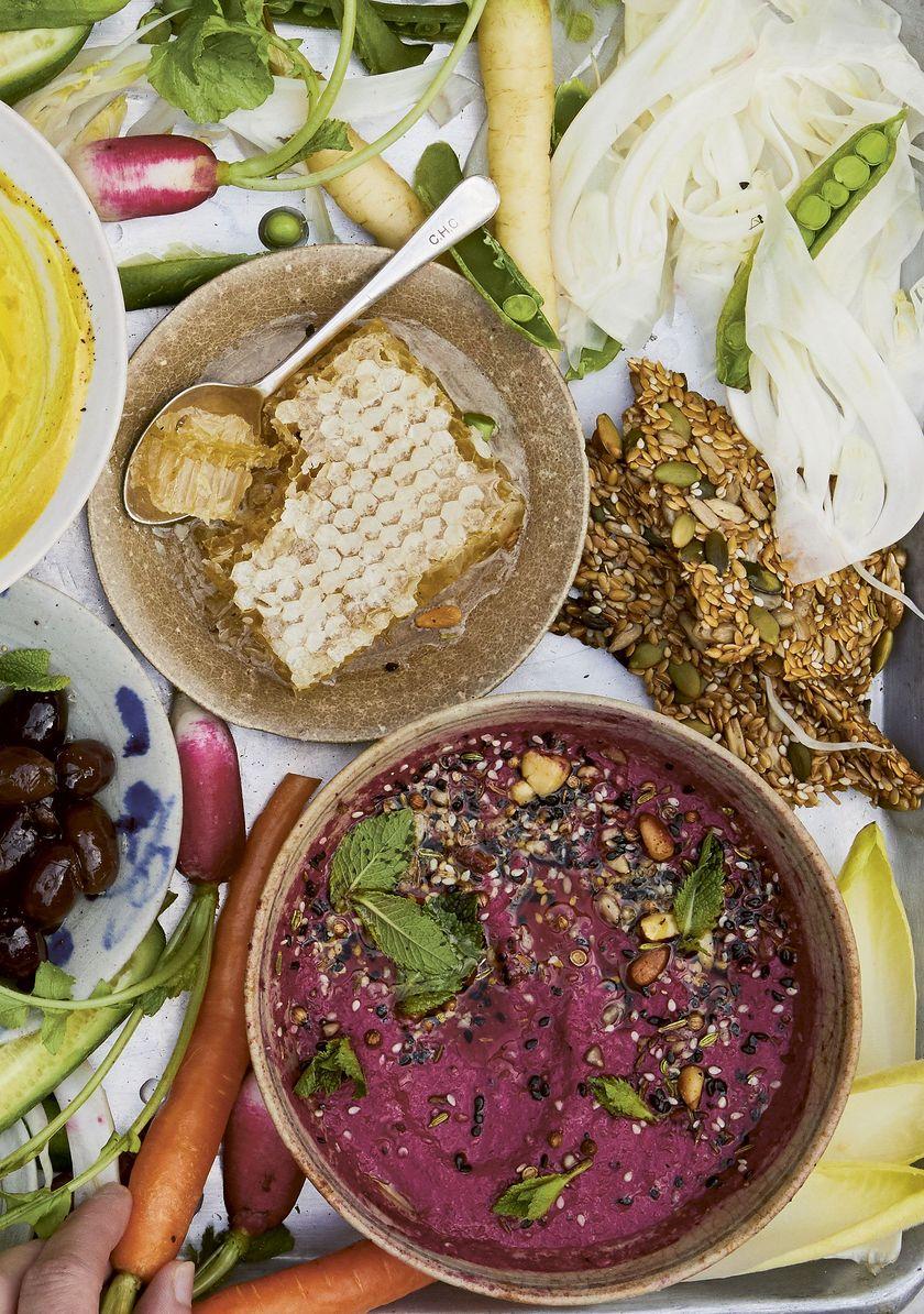 Vegan Snack Recipe Melissa Hemsley Beetroot Carrot Borani Dip