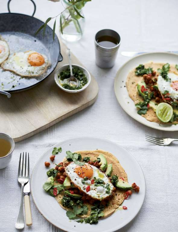 Melissa Hemsley's Fried Eggs, Avocado and Smoky Bean Tacos