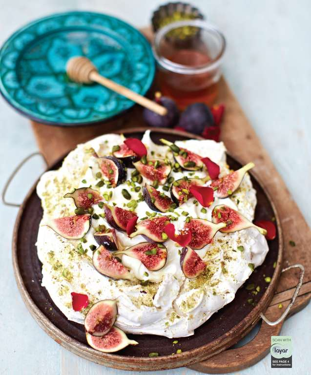 Pistachio and Rosewater Pavlova with Greek Yoghurt, Honey and Figs