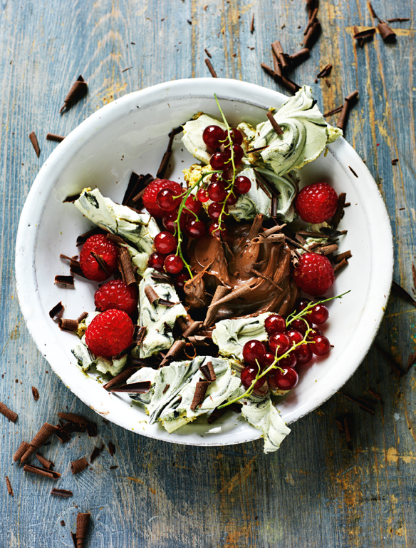 Smashed Liquorice Meringues with Berries & Chocolate Cream