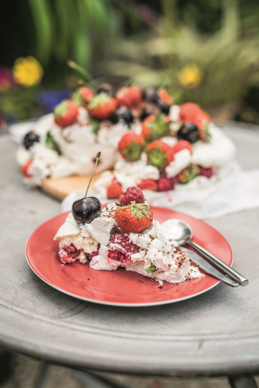 Vegan Pavlova Meringue Tower