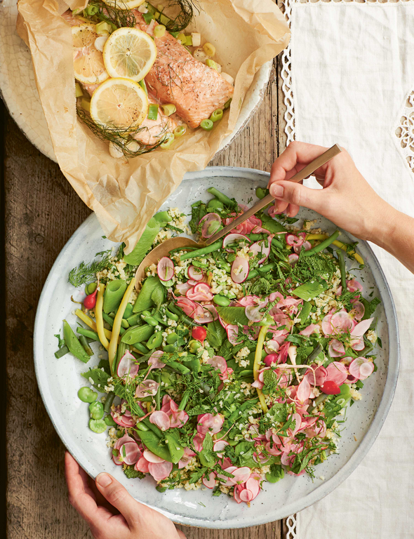 Salmon, Bean, and Bulgur Wheat Salad with Quick Pickled Radishes