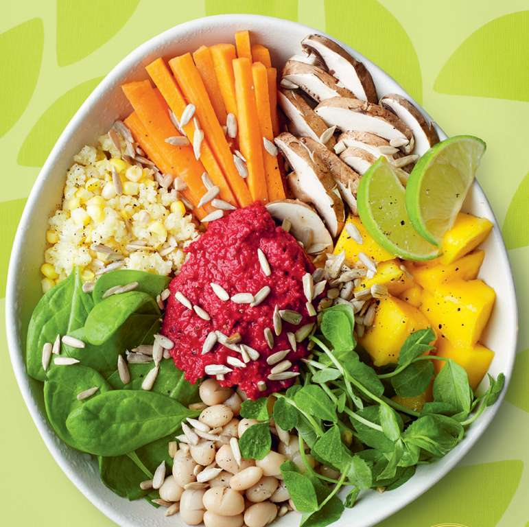 Millet Buddha bowl with beetroot houmous
