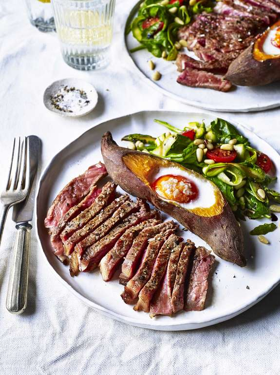 Sirloin Steak with Sweet Potato Baked Egg, Balsamic Glaze & Asparagus