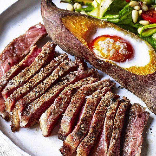 Sirloin Steak with Sweet Potato Baked Egg, Balsamic Glaze ...