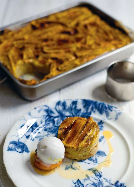 Wattalapam Bread and Butter Pudding with Spiced Roast Apricots
