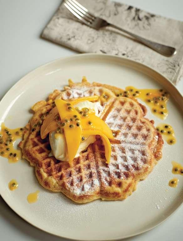 Coconut Waffles with Vanilla Mascarpone, Mango and Passion Fruit