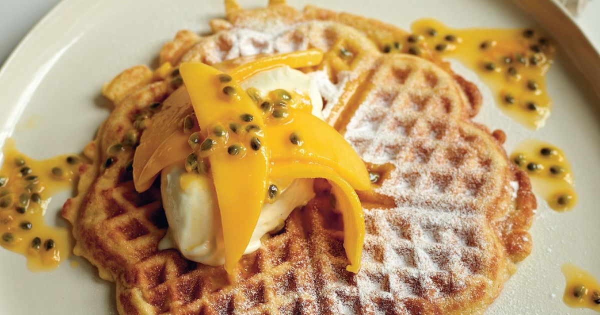 Coconut Waffles with Vanilla Mascarpone, Mango and Passion Fruit - The ...