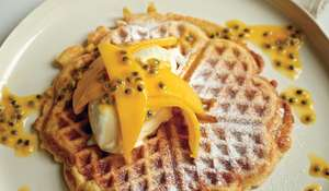 Coconut Waffles with Vanilla Mascarpone, Mango and Passion Fruit