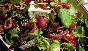 Cherry, Olive, Braised Red Onion and Couscous Salad with Tymsboro Goats' Cheese
