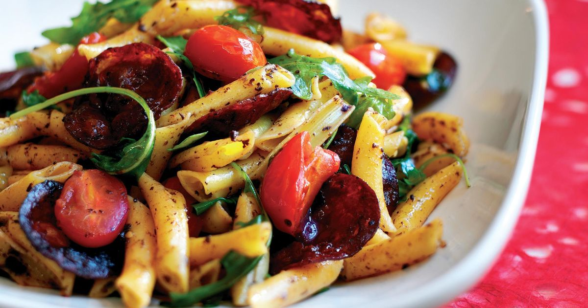 Chorizo, Tomato, Rocket and Black Olive Penne - The Happy Foodie