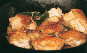Pollo Al Ajillo (Chicken Cooked with Bay, Garlic and White Wine)