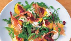 Jamie Oliver's Leafy Salad with Mozzarella, Mint, Peach and Prosciutto Recipe