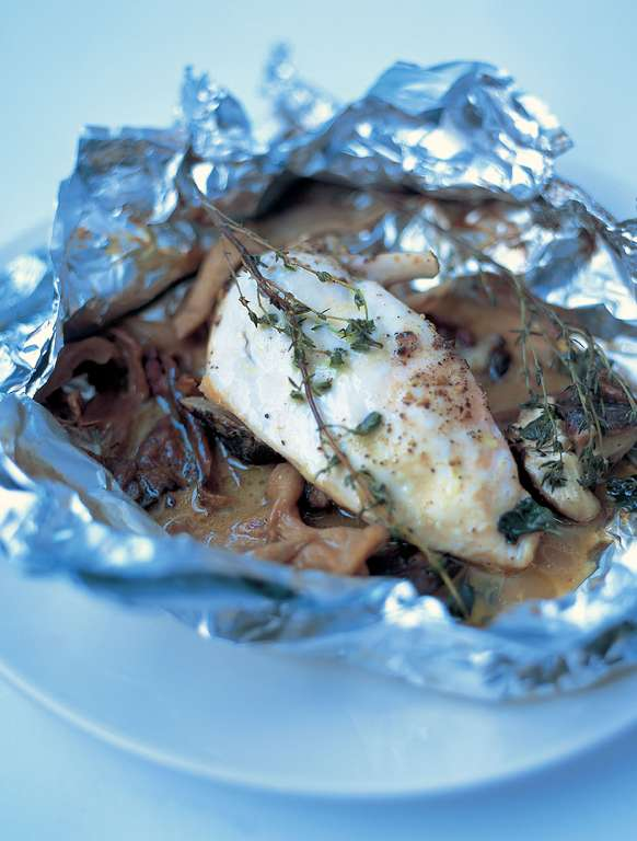Chicken Baked in a Bag with Mushrooms, Butter, White Wine and Thyme