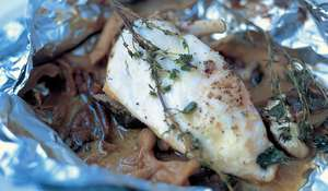 Jamie Oliver's Baked Chicken with Mushrooms, White Wine and Thyme Recipe