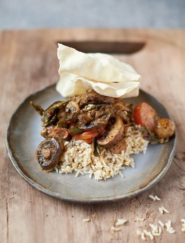 Mighty Mushroom Curry Red Lentils, Brown Rice and Poppadoms - Jamie Oliver's Everyday Super Food