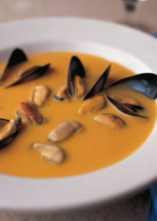 Cream of Mussel Soup with Celeriac and Saffron