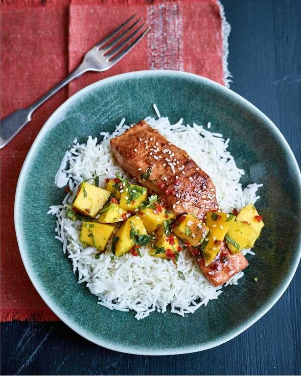 Nadiya Hussain's Teriyaki Salmon with Mango Salsa