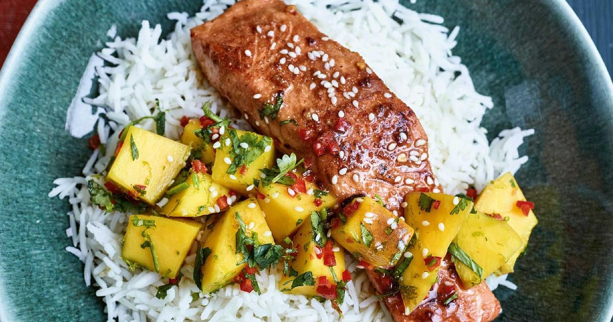 Nadiya Hussain Teriyaki Salmon Mango Salsa Recipe Time To Eat