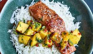 Nadiya Hussain's Teriyaki Salmon with Mango Salsa Recipe | Time To Eat