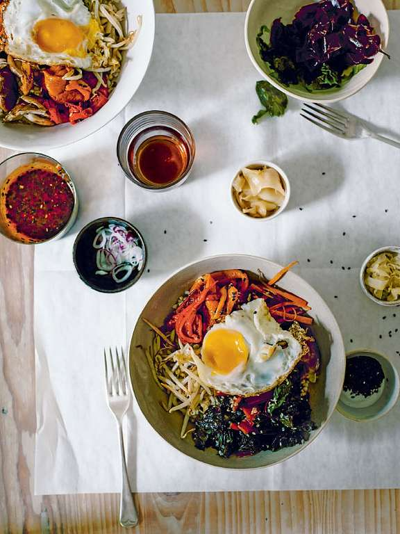Brown Rice Bibimbap Bowls with Smoky Peppers